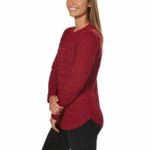 Jeanne Pierre Women Fisherman Knit Sweater Red